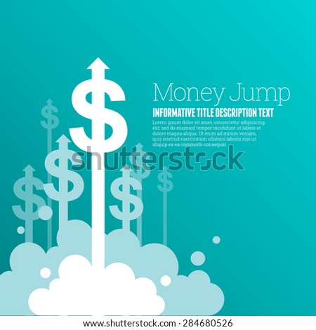 Vector illustration of dollar currency signs with upward arrows. - stock vector