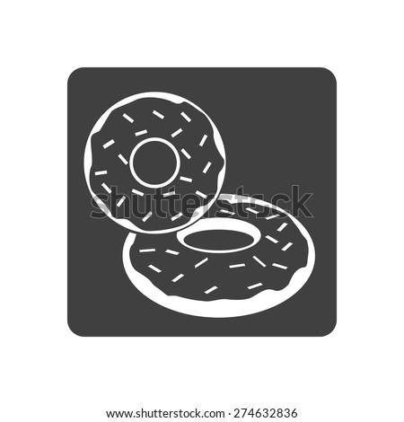 Vector illustration of donut dessert icon on white background. Button. - stock vector
