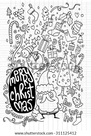 Vector illustration of Doodle Christmas background ,Hand drawing Doodle  - stock vector