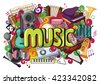 vector illustration of doodle on Music concept - stock vector