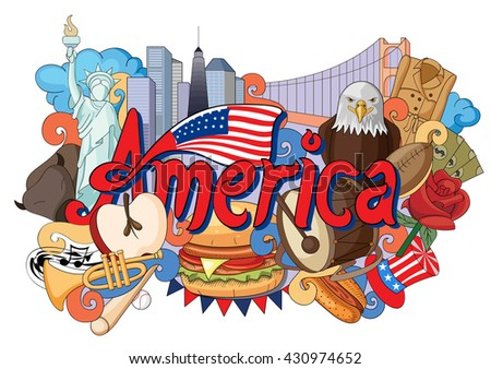 vector illustration of Doodle showing Architecture and Culture of America - stock vector