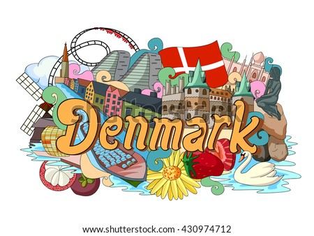 vector illustration of Doodle showing Architecture and Culture of Denmark - stock vector