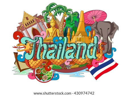 vector illustration of Doodle showing Architecture and Culture of Thailand - stock vector