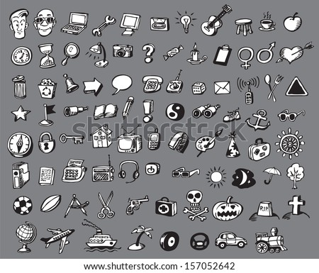 Vector illustration of doodle vector icons collection. Easy-edit layered vector EPS10 file scalable to any size without quality loss. High resolution raster JPG file is included. - stock vector