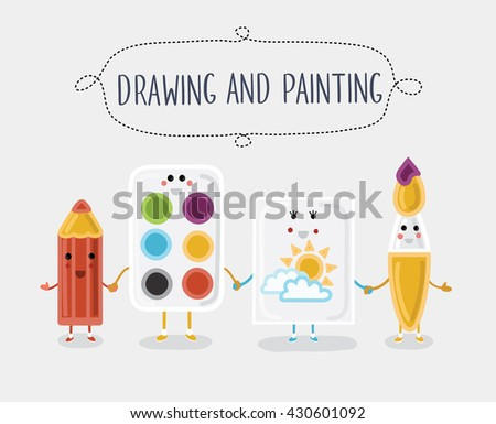 Vector illustration of drawing and painting materials. Cartoon characters with smiling faces