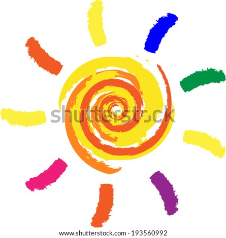 Vector illustration of drawing sun on white background