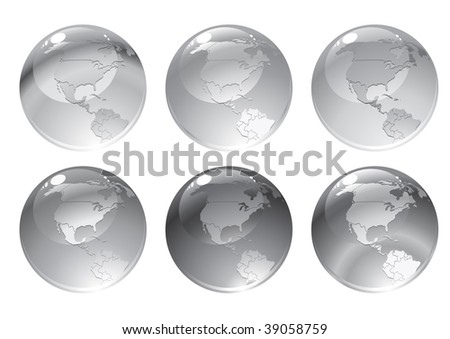 Vector Illustration of dray globe icons with different continents.