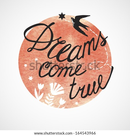Vector illustration of dreams.  Illustration for greeting cards, invitations, and other printing and web projects. - stock vector