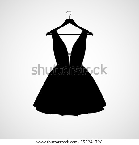 Vector illustration of dress elegant dress with hanger. Dress Icon, object. Dress Icon Picture. Dress Icon Drawing, Image, Graphic, Art. - stock vector