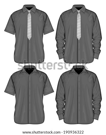 Vector illustration of dress shirts (button-down) with  and without neckties. Short and long sleeve. Front view. - stock vector