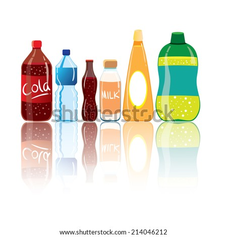 Vector illustration of drink bottles with reflection isolated on white - stock vector