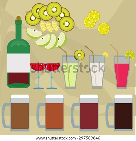 vector illustration of drinks and fruits for menu - stock vector