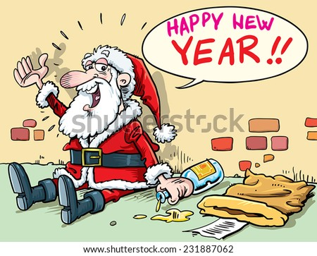 Illustration Santa Drunk Stock Photos, Royalty-Free Images ...