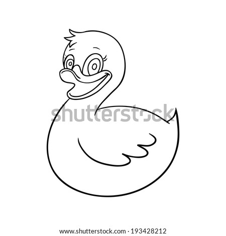 Vector illustration of duck cartoon - Coloring book - stock vector