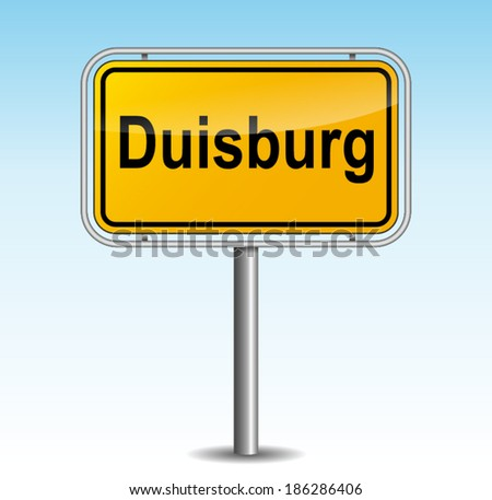 Vector illustration of duisburg signpost on sky background - stock vector