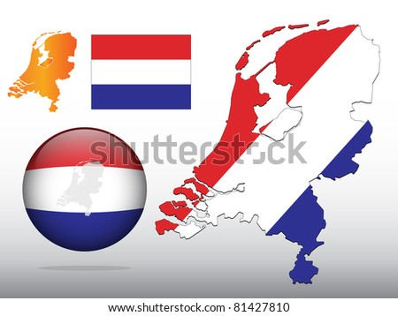Vector illustration of Dutch flag pattern on map, in glossy ball