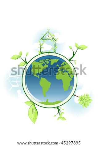 Vector illustration of earth with global conservation