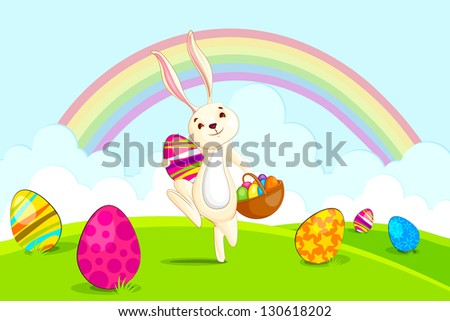 vector illustration of Easter bunny with basket colorful egg - stock vector