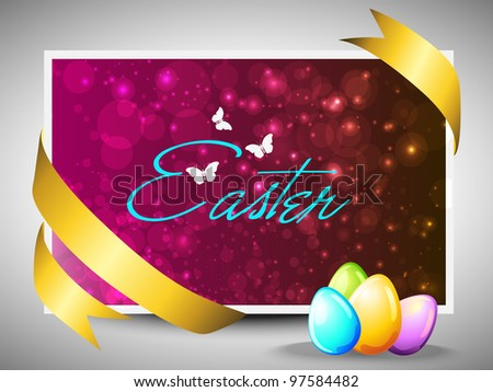 Vector illustration of Easter colorful glossy eggs greeting, gift card or banner in magenta color with copy space for your message. EPS 10.