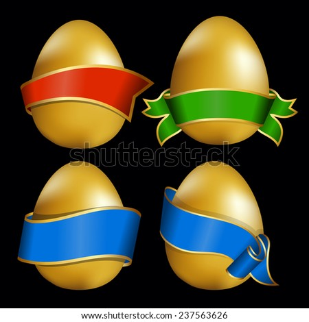 Vector illustration of easter egg with ribbon - stock vector