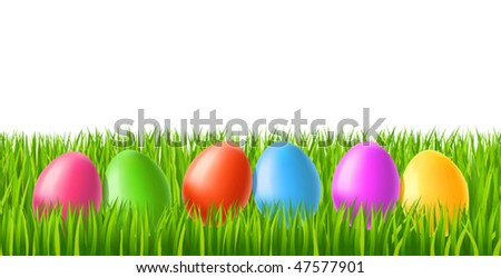 vector illustration of Easter eggs on green grass