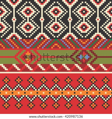 Vector illustration of Eastern Europe folk seamless pattern background. Ethnic ornaments.