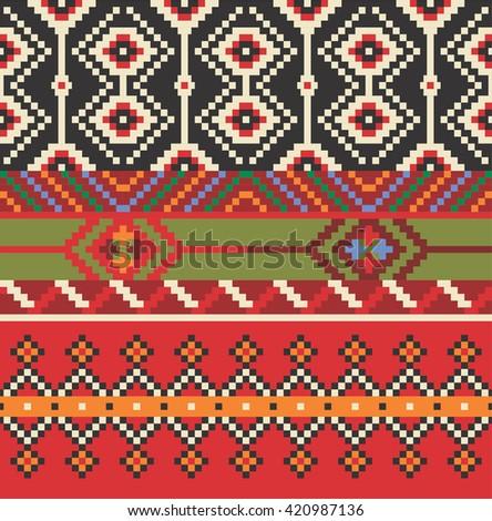 Vector illustration of Eastern Europe folk seamless pattern background. Ethnic ornaments. - stock vector