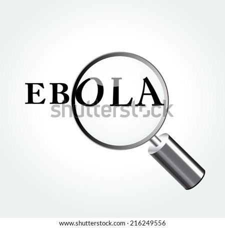 Vector illustration of ebola virus abstract concept with magnifying