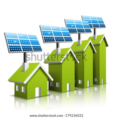 Vector illustration of Eco houses with solar panel.