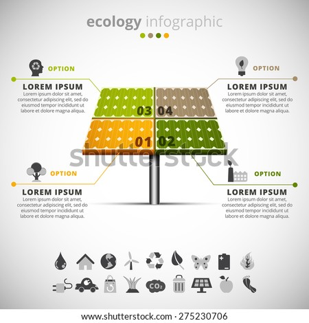 Vector illustration of ecology infographic made of solar panel. - stock vector