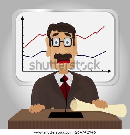Vector Illustration of Economist making the report - stock vector