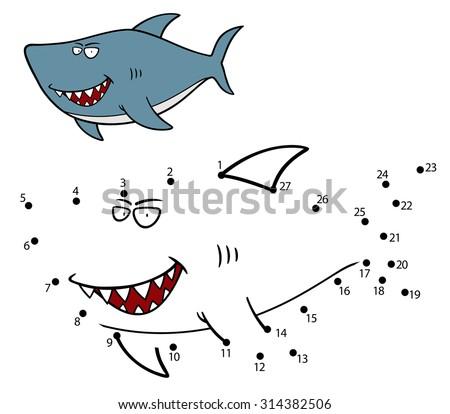 Vector Illustration of Education dot to dot game Shark - stock vector