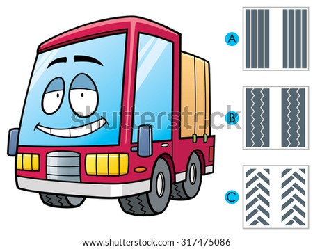 Vector Illustration of Education game  make the choice matching Truck tire - stock vector