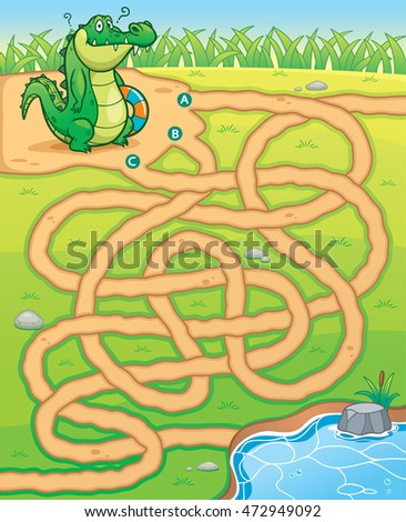 Vector Illustration of Education Maze Game Crocodile to pond