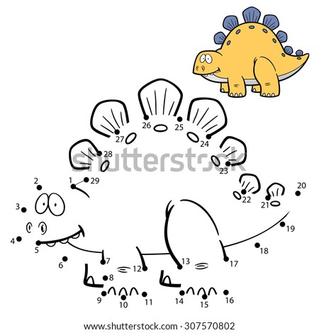 Vector Illustration of Education Numbers game Dinosaur - stock vector