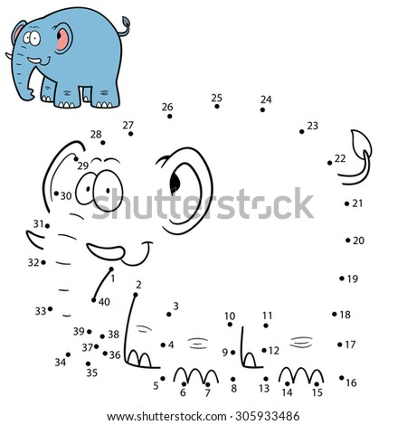Vector Illustration of Education Numbers game Elephant - stock vector