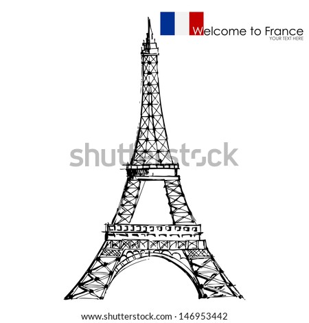 vector illustration of Eiffel tower against white background - stock vector