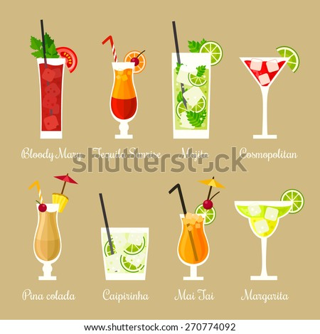 Vector illustration of eight popular alcoholic cocktails: Bloody Mary, Tequila Sunrise, Mojito, Cosmopolitan, Pina Colada, Caipirinha, Mai Tai, Margarita in flat style