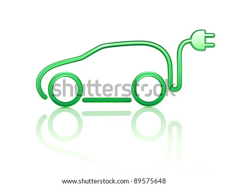 Vector illustration of electric powered car symbol - stock vector