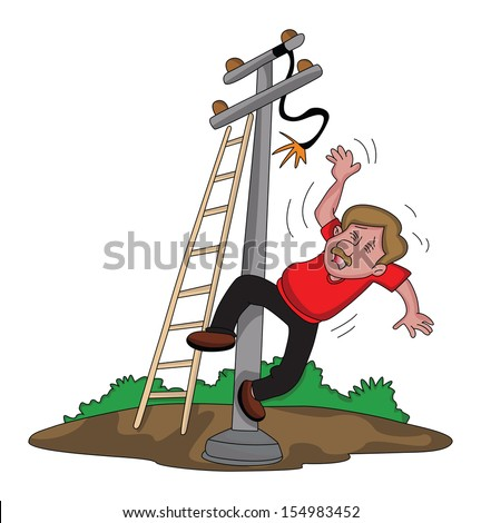 Vector illustration of electrician falling down from ladder after an electric shock. - stock vector