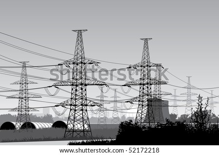 Vector illustration of electricity pylons. - stock vector