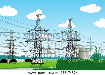 Vector illustration of electricity pylons.  Urban landscape. - stock vector
