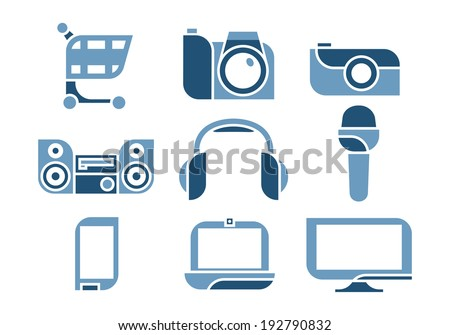 vector illustration of electronics Icons set.