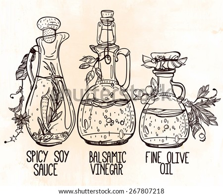 Vector Illustration Of Elegant Beautiful Vintage Bottles Various Dressings And Seasonings Isolated Chalk On Aged