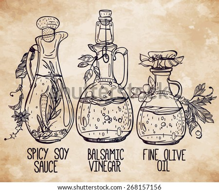 Vector illustration of elegant beautiful vintage bottles various dressings and seasonings. Isolated on aged card paper. Hand drawn liquid ingredients set. Decorative linear art of sauces. Menu deli. - stock vector