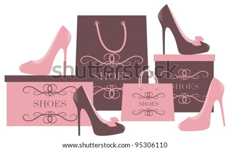Vector illustration of elegant high heels, shopping bags and boxes. Raster version also available. - stock vector