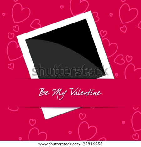 Vector illustration of elegant, stylish, romantic Valentine's Day card with photo frame - stock vector