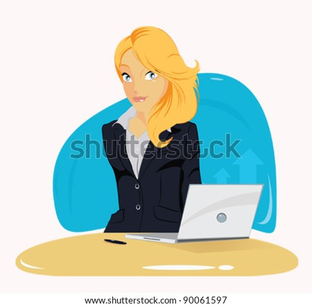 Vector illustration of elegant young business woman - stock vector