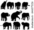Vector illustration of Elephant silhouettes on white background. - stock vector