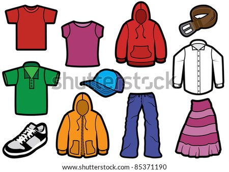 Vector illustration of eleven different clothes with bold outlines. All objects and details are isolated. Colors and transparent background color are easy customizable. - stock vector